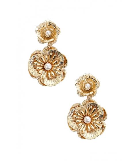 Bijuterii Femei Forever21 Floral Faux Pearl Drop Earrings GOLDCREAM