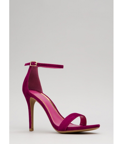 Incaltaminte Femei CheapChic Smile Faux Suede Ankle Strap Heels Magenta