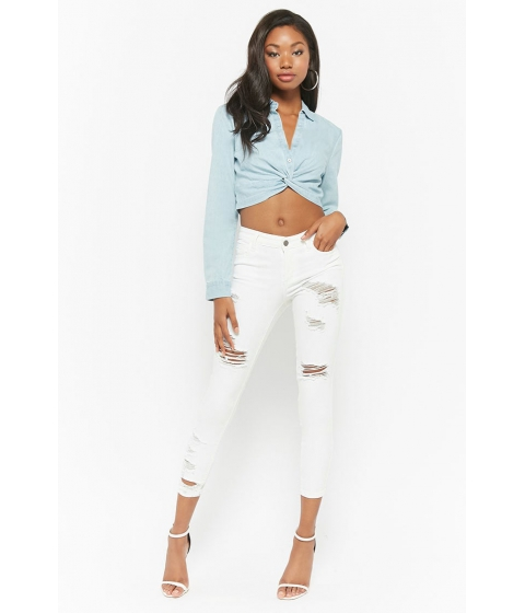 Imbracaminte Femei Forever21 Distressed Ankle Skinny Jeans WHITE