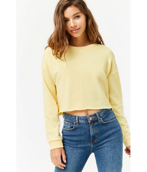 Imbracaminte Femei Forever21 Raw-Cut French Terry Sweatshirt LIGHT YELLOW