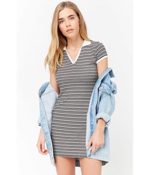 Imbracaminte Femei Forever21 Striped Contrast V-Neck Dress BLACKCREAM
