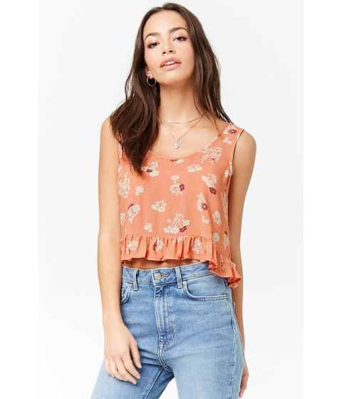 Imbracaminte Femei Forever21 Ruffled Floral Crop Top PEACHCREAM