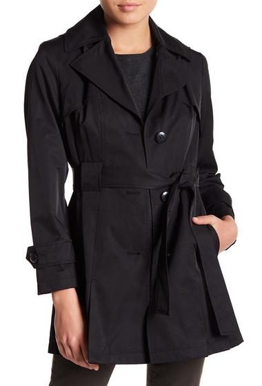 Imbracaminte Femei Via Spiga Solid Waist Tie Raincoat Petite BLACK