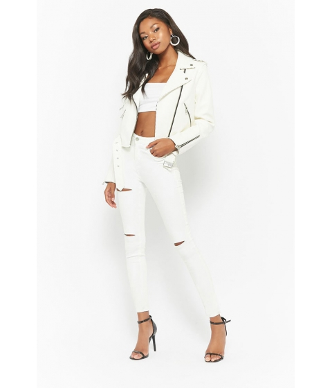 Imbracaminte Femei Forever21 Ripped High-Rise Skinny Jeans WHITE