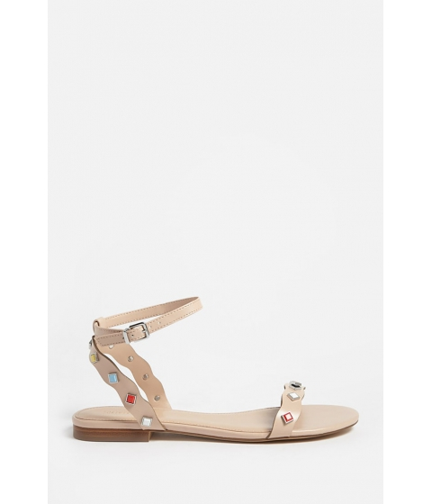 Incaltaminte Femei Forever21 Studded Faux Leather Ankle-Wrap Sandals NUDE