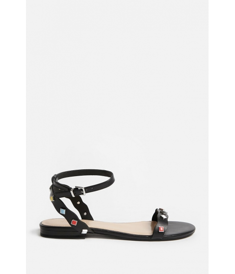 Incaltaminte Femei Forever21 Studded Faux Leather Ankle-Wrap Sandals BLACK