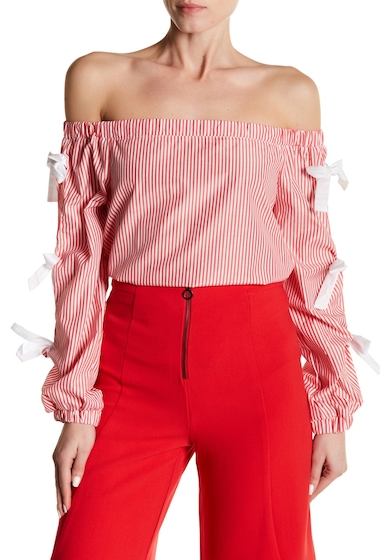 Imbracaminte Femei Do Be Striped Off-the-Shoulder Tie Sleeve Top RED