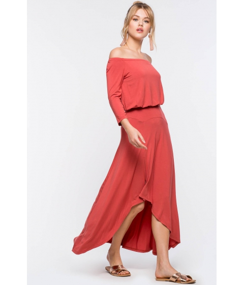 Imbracaminte Femei CheapChic Soft Knit Hi Lo Dress Brick