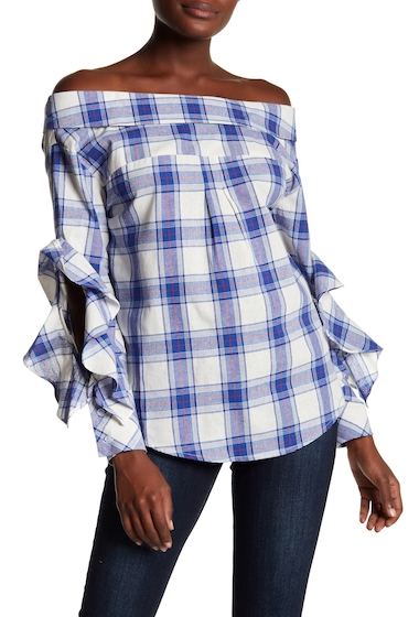 Imbracaminte Femei Tea Cup Off-the-Shoulder Long Ruffle Sleeve Top With Tie Up Back BLUE