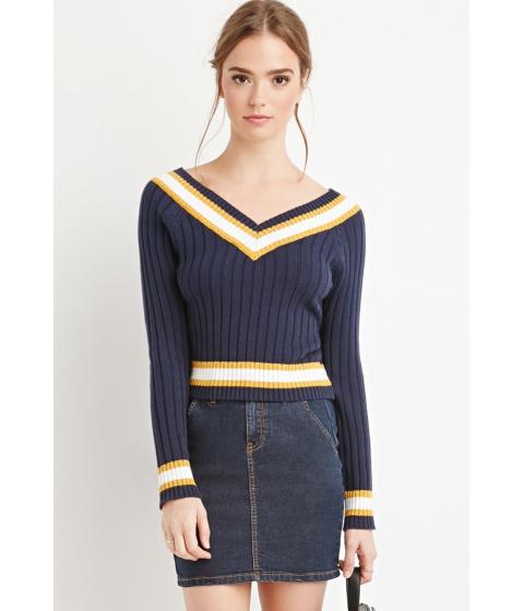 Imbracaminte Femei Forever21 Varsity-Striped V-Neck Sweater NAVYCREAM