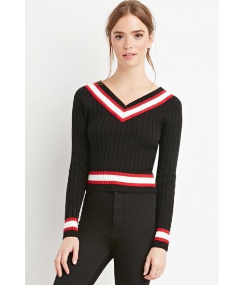 Imbracaminte Femei Forever21 Varsity-Striped V-Neck Sweater BLACKRED