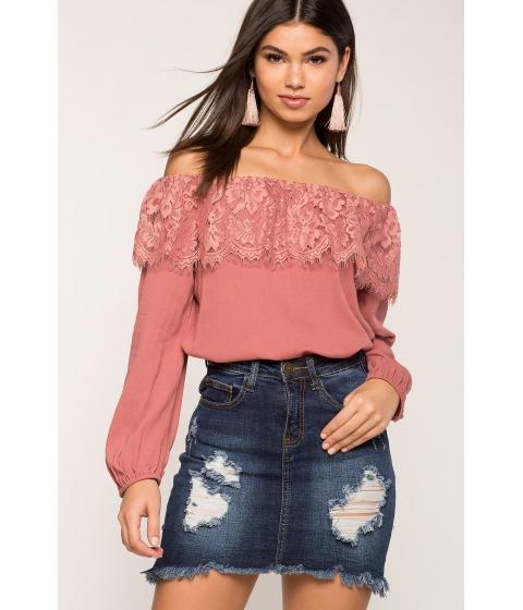 Imbracaminte Femei CheapChic Lace Flounce Off Shoulder Top Mauve