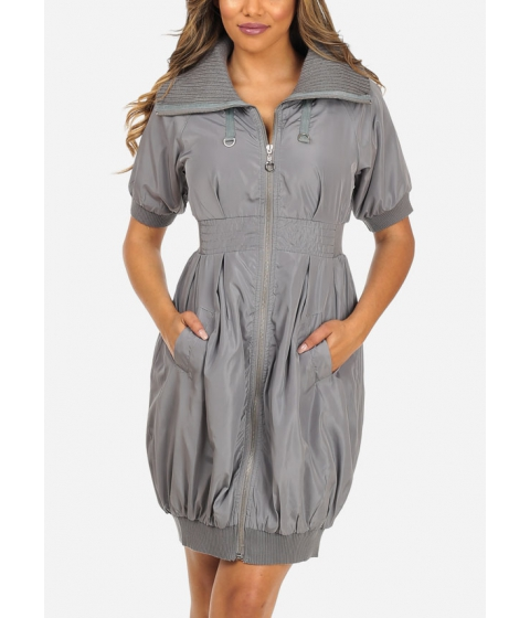 Imbracaminte Femei CheapChic Stylish Grey Elbow Sleeve 2-Pocket Silver Zip Up Above Knee Dress Multicolor