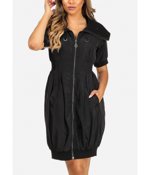Imbracaminte Femei CheapChic Stylish Black Elbow Sleeve 2-Pocket Silver Zip Up Above Knee Dress Multicolor