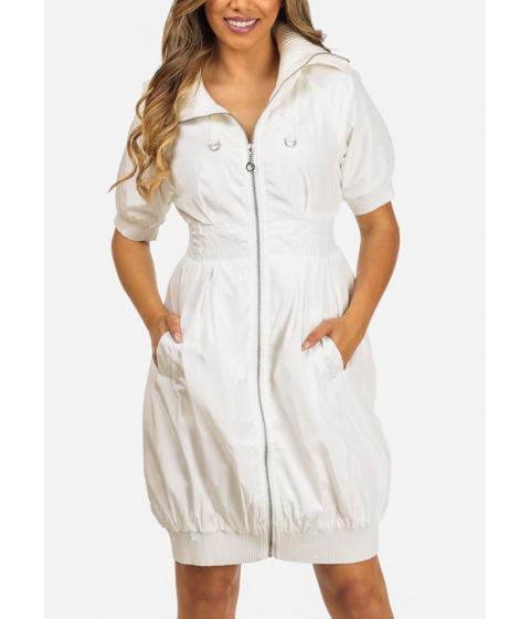 Imbracaminte Femei CheapChic Stylish White Elbow Sleeve 2-Pocket Silver Zip Up Above Knee Dress Multicolor