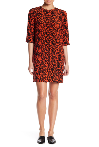 Imbracaminte Femei Equipment Aubrey Silk Patch Pocket Printed Dress BLOODSHOT-TRUE BLK