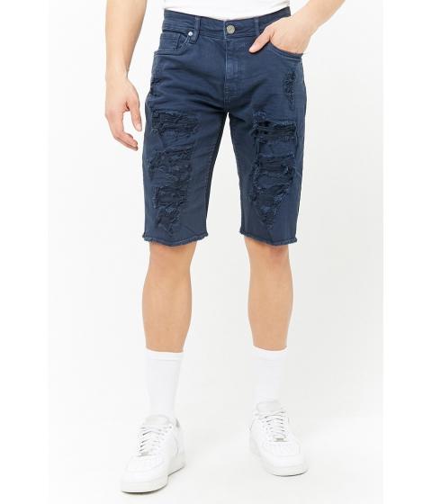 Imbracaminte Barbati Forever21 Jordan Craig Distressed Denim Shorts NAVY