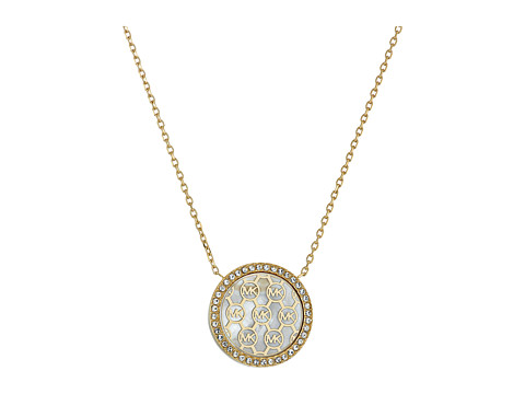 Bijuterii Femei Michael Kors Disc Pendant Necklace GoldMother-of-PearlClear