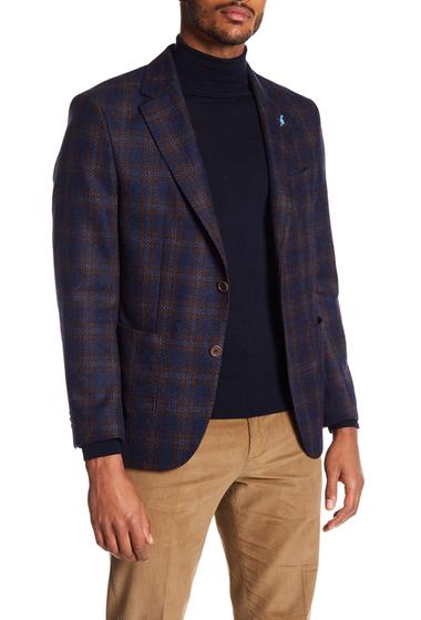 Imbracaminte Barbati TailorByrd Classic Italian Fabric Windowpane Two Button Notch Lapel Jacket NAVY