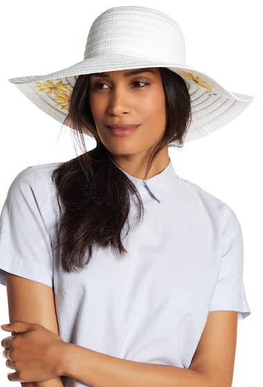 Accesorii Femei Collection Xiix Garden Floral Embroidered Floppy Hat WHITE