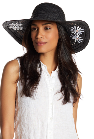 Accesorii Femei Collection Xiix Garden Floral Embroidered Floppy Hat BLACK