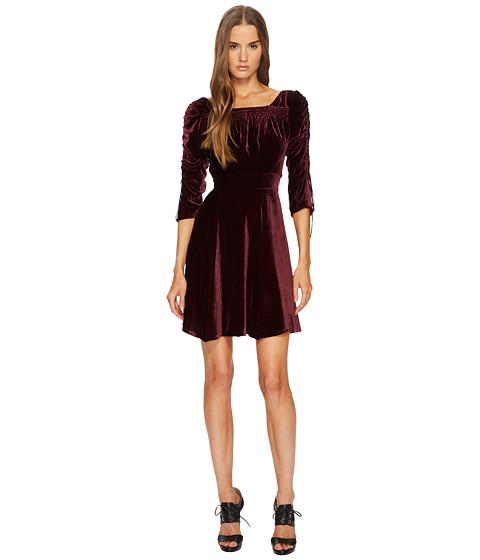 Imbracaminte Femei The Kooples Velvet Dress with Pleated Sleeves Burgundy