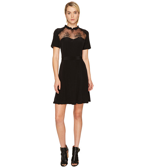 Imbracaminte Femei The Kooples Short Sleeve Dress in Silk Taffeta Black