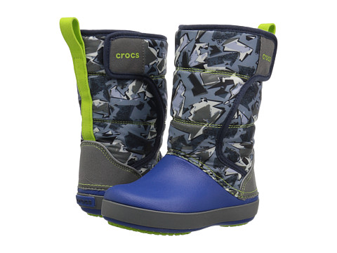 Incaltaminte Fete Crocs Lodge Point Graphic Snow Boot (ToddlerLittle Kid) Slate GreyBlue Jean