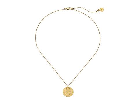 Bijuterii Femei Michael Kors Etched Monogram Disc Pendant Necklace Gold