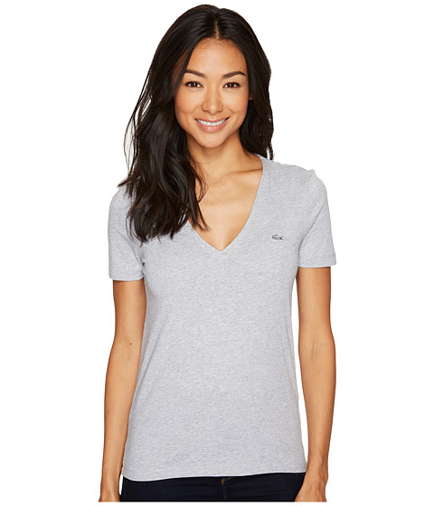 Imbracaminte Femei Lacoste Short Sleeve Solid V-Neck Jersey Tee Silver Chine