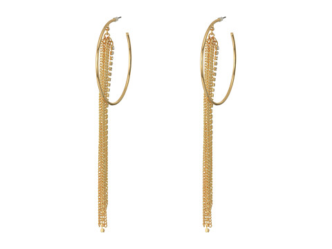 Bijuterii Femei GUESS Large Hoop with Chain and Rhinestone Fringe Earrings GoldCrystal