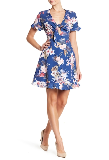 Imbracaminte Femei NSR Short Sleeve Floral Print Crepe Dress NAVY