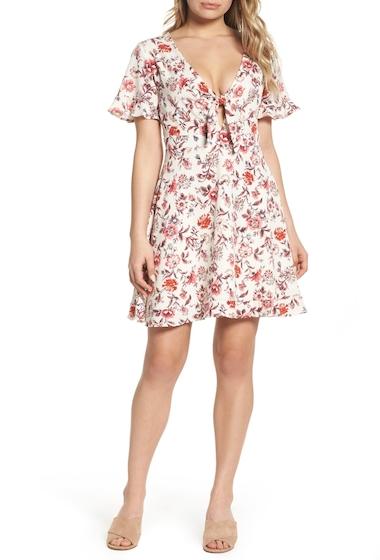 Imbracaminte Femei NSR Short Sleeve Floral Print Crepe Dress RED FLORAL
