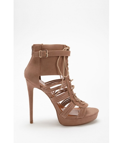 Incaltaminte Femei Forever21 Shoe Republic Faux Suede Caged Heels TAN