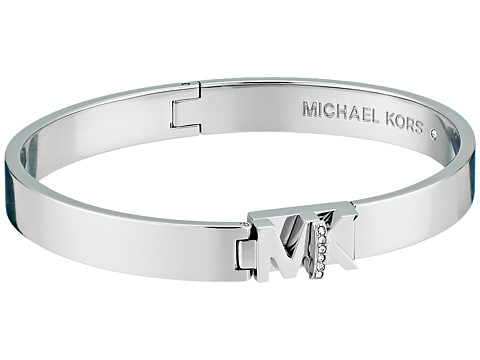 Bijuterii Femei Michael Kors Iconic Hinged MK Logo Bangle Bracelet with Hint of Glitz SilverSteel