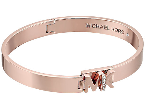 Bijuterii Femei Michael Kors Iconic Hinged MK Logo Bangle Bracelet with Hint of Glitz Rose Gold