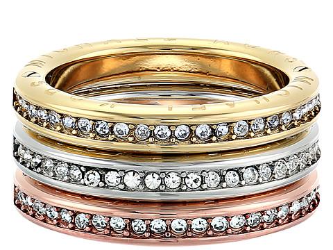 Bijuterii Femei Michael Kors Tri-Tone and Pave Logo Grommet Stack Ring Set Multi