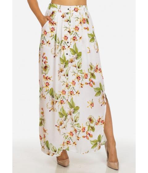 Imbracaminte Femei CheapChic Stylish Floral Print High Waist Button Up White Side Slits Skirt Multicolor