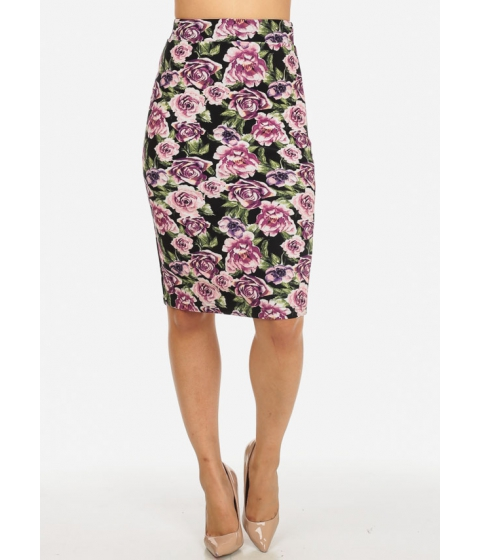 Imbracaminte Femei CheapChic Purple High Waisted Slim Fit Floral Print Pull On Back Slit Skirt Multicolor