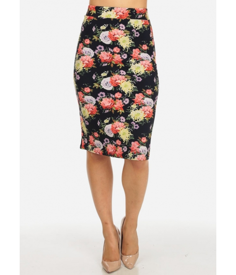 Imbracaminte Femei CheapChic Multicolor High Rise Slim Fit Floral Print Pull On Back Slit Skirt Multicolor