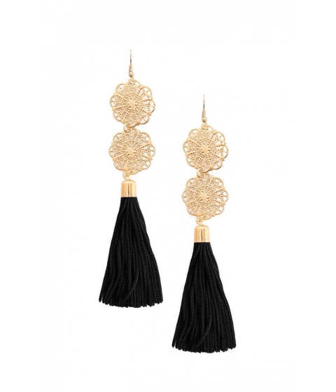 Bijuterii Femei Forever21 Filigree Tassel Drop Earrings BLACKGOLD
