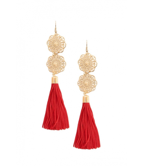Bijuterii Femei Forever21 Filigree Tassel Drop Earrings REDGOLD