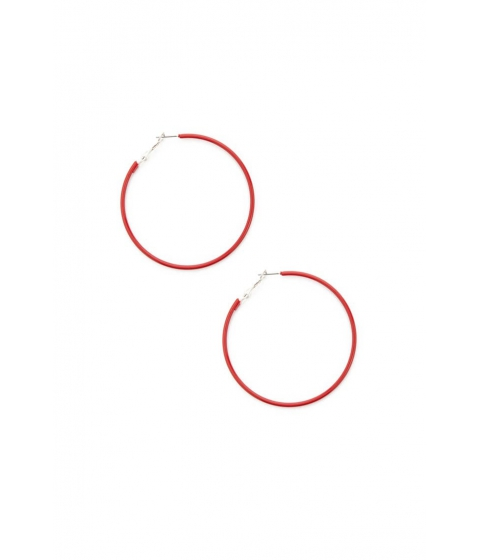 Bijuterii Femei Forever21 Coated Hoop Earrings RED