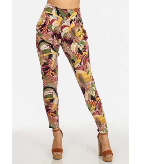 Imbracaminte Femei CheapChic High Waisted Stretchy Yellow and Red 2-Pocket Printed Pants Multicolor