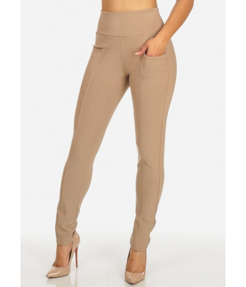 Imbracaminte Femei CheapChic One Size High Waisted Stretchy Pull On Khaki Skinny Pants Multicolor