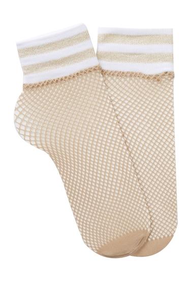 Accesorii Femei Free Press Sport Top Fishnet Crew Socks - Set of 2 NUDE GOLD