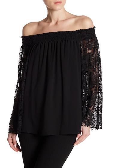 Imbracaminte Femei NANETTE nanette lepore Long Lace Sleeve Off-the-Shoulder Blouse VERY BLACK
