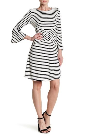Imbracaminte Femei ECI 34 Sleeve Stripe Print Flare Dress IVORYNAVY