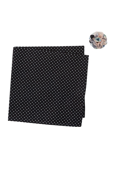Accesorii Barbati Original Penguin Cooper Dot Pocket Square Lapel Pin Set BLACK