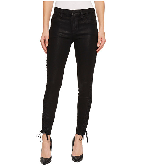 Imbracaminte Femei Hudson Stevie Mid-Rise Continuous Lace-Up Super Skinny in Black Coated Black Coated